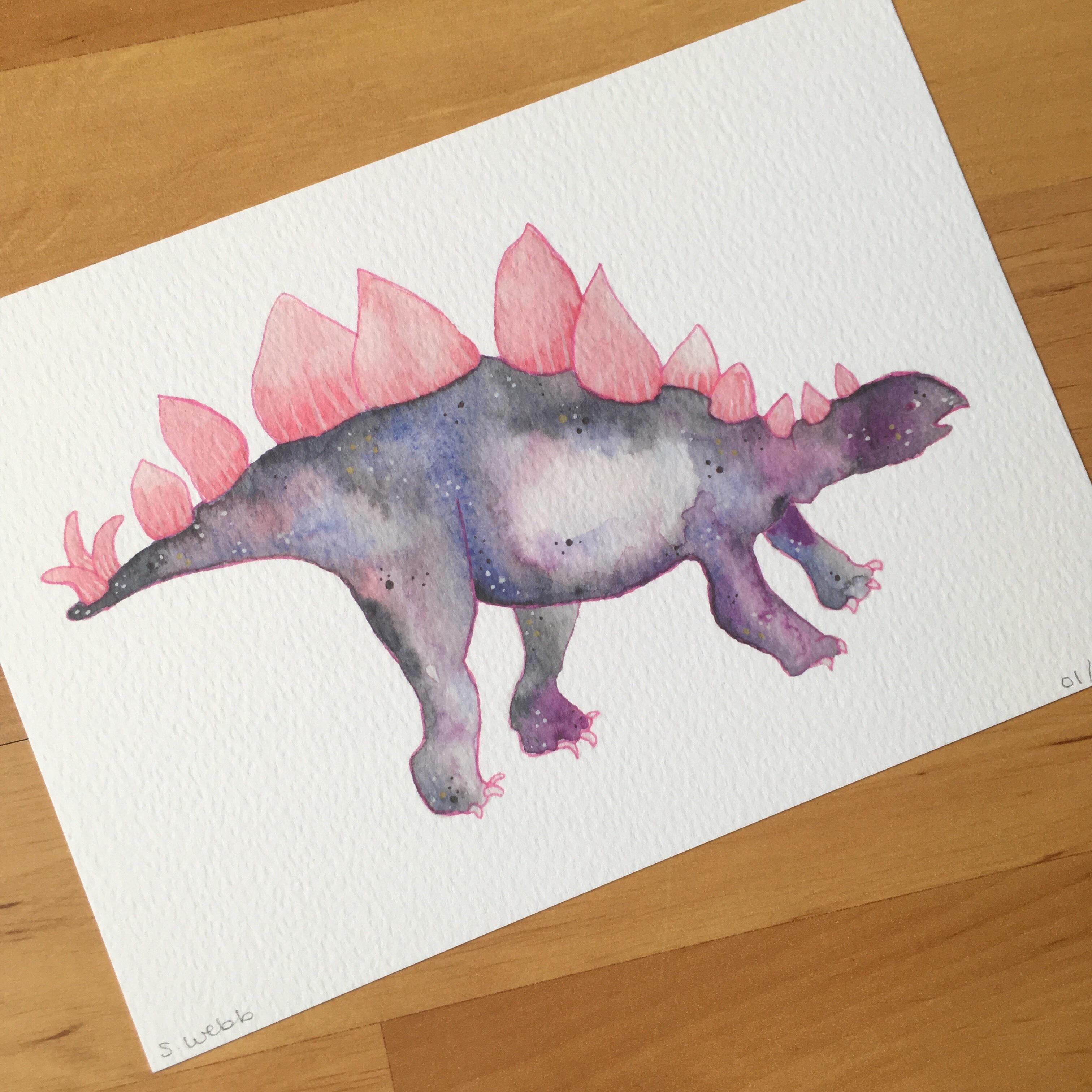 Stargazersaurus watercolour dinosaur by Samantha Webb